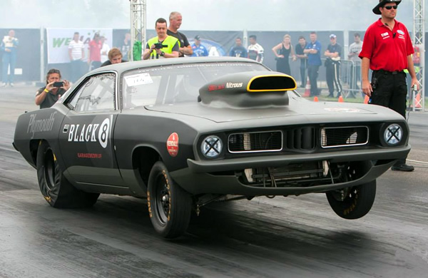 Plymouth Cuda Drachten Dragrace event 500ci stroker mopar big block