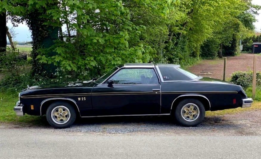 1975 Oldsmobile Cutlass Supreme Hurst benzine lpg apk t-top 350 5.7 Hurst racing uitvoering zijkant